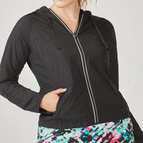 Fabletics Jackets & Blazers - Fabletics Camilla Jacket Black Windbreaker Hooded